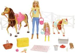 Mattel FXH15 Barbie Reitspaß mit Barbie (blond), Chelsea, Pferd & Pony