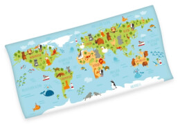Weltkarte-Velourstuch